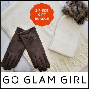 NWT SCARF HAT GLOVE 3-PC GIFT BUNDLE, IVORY/TAUPE